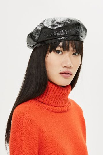 black pvc beret